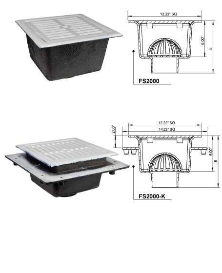 "12"" x 12"" x 6"" DEEP A.R.E. FLOOR SINK"